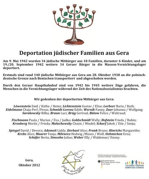Bild der Tafel : Deportation jüdischer Familien aus Gera